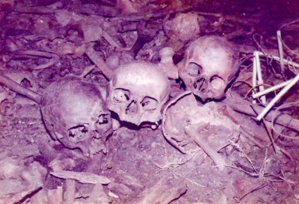 Ouverture d'une des fosses communes (1980).